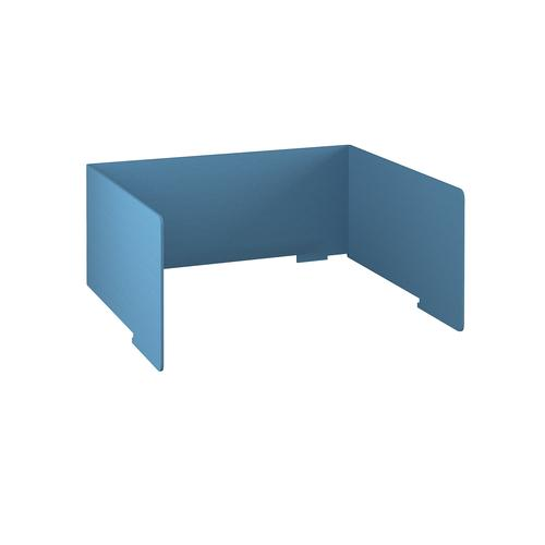Free-standing high acoustic 3-sided desktop screen 1400mm wide - sky blue