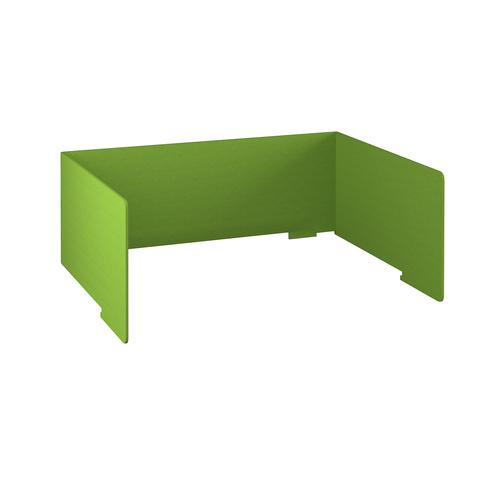 Free-standing high acoustic 3-sided desktop screen 1600mm wide - apple green