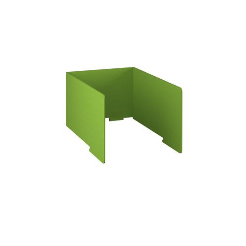 Free-standing high acoustic 3-sided desktop screen 800mm wide - apple green
