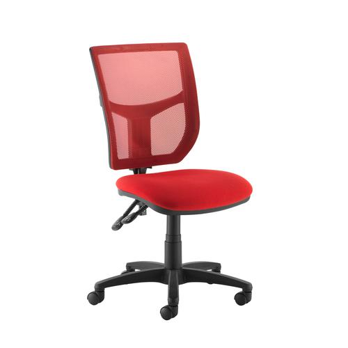 Image for Altino coloured mesh back operators chair with no arms - red mesh and fabric seat