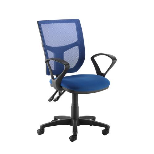 Image for Altino coloured mesh back operators chair with fixed arms - blue mesh and fabric seat