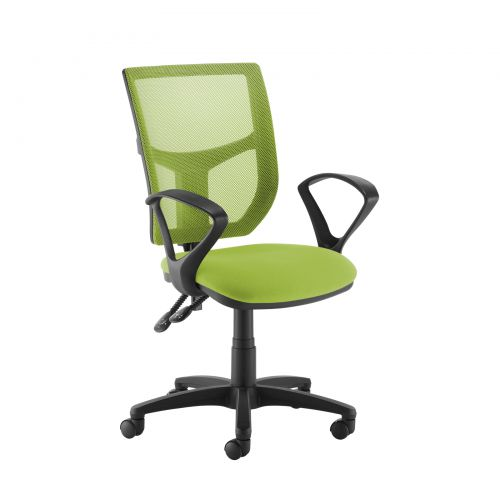 Image for Altino coloured mesh back operators chair with fixed arms - green mesh and fabric seat