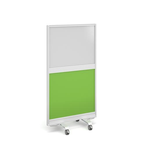Aluminium floor screen with white frame and half glazed half white board 1500mm high x 800mm wide - made to order