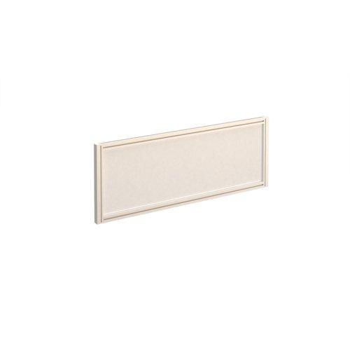 Straight glazed desktop screen 1000mm x 380mm - polar white with white aluminium frame