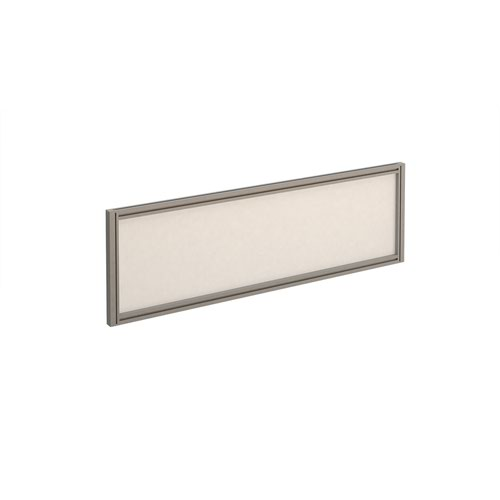 Straight glazed desktop screen 1200mm x 380mm - polar white with silver aluminium frame