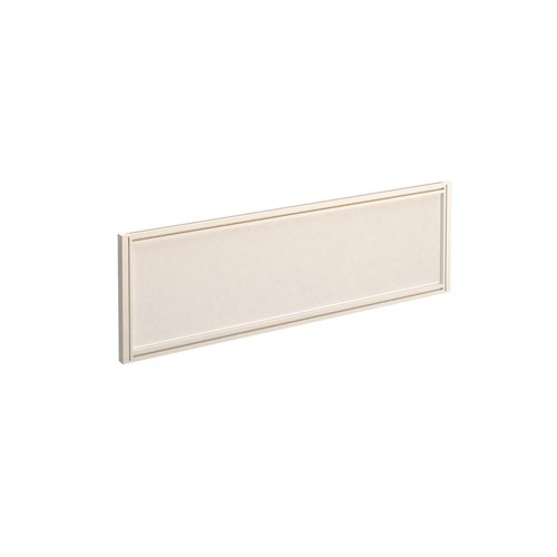 Straight glazed desktop screen 1200mm x 380mm - polar white with white aluminium frame