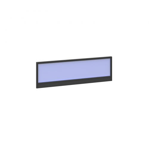 Straight glazed desktop screen 1200mm x 380mm - electric blue with black aluminium frame