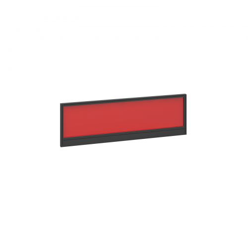 Straight glazed desktop screen 1200mm x 380mm - chili red with black aluminium frame