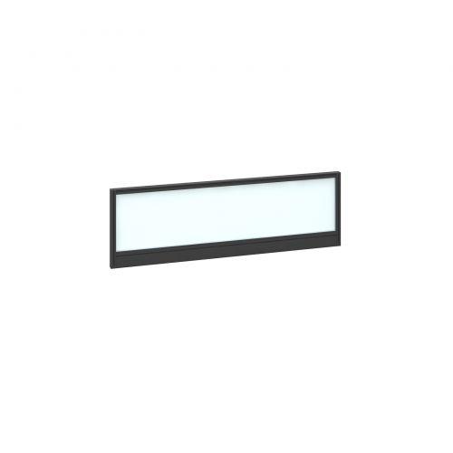 Straight glazed desktop screen 1200mm x 380mm - polar white with black aluminium frame