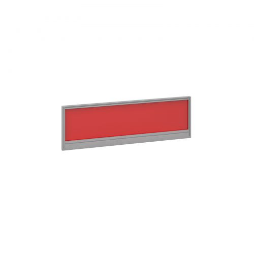 Straight glazed desktop screen 1200mm x 380mm - chili red with silver aluminium frame
