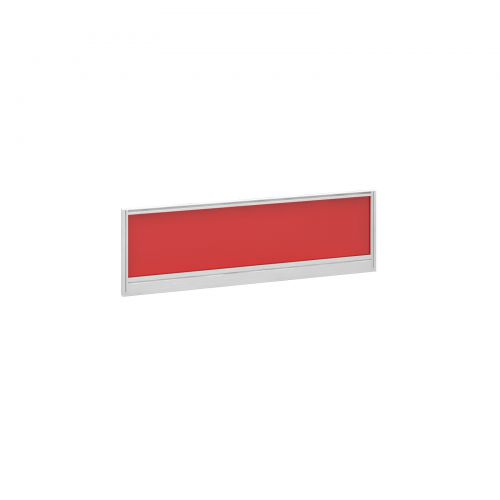 Straight glazed desktop screen 1200mm x 380mm - chili red with white aluminium frame