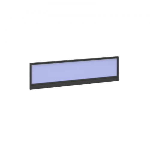 Straight glazed desktop screen 1400mm x 380mm - electric blue with black aluminium frame