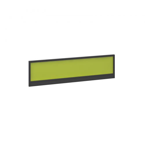 Straight glazed desktop screen 1400mm x 380mm - acid green with black aluminium frame