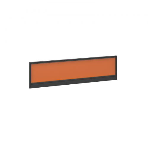 Straight glazed desktop screen 1400mm x 380mm - mandarin orange with black aluminium frame