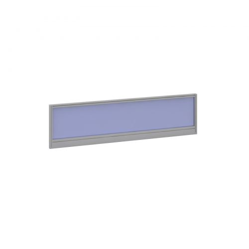 Straight glazed desktop screen 1400mm x 380mm - electric blue with silver aluminium frame