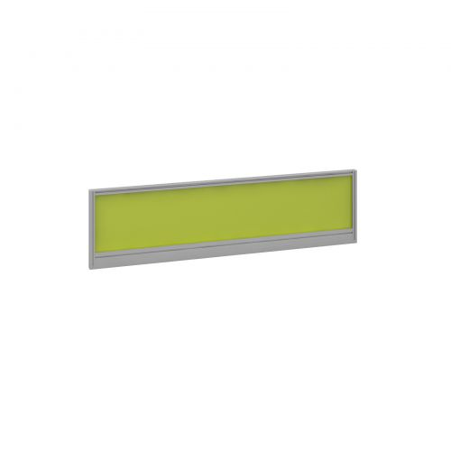 Straight glazed desktop screen 1400mm x 380mm - acid green with silver aluminium frame