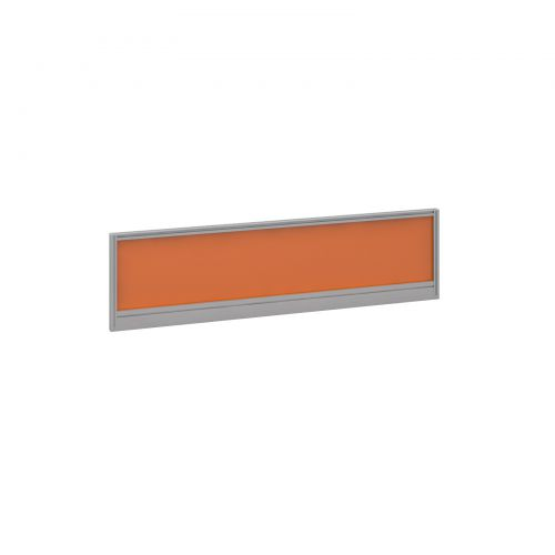 Straight glazed desktop screen 1400mm x 380mm - mandarin orange with silver aluminium frame