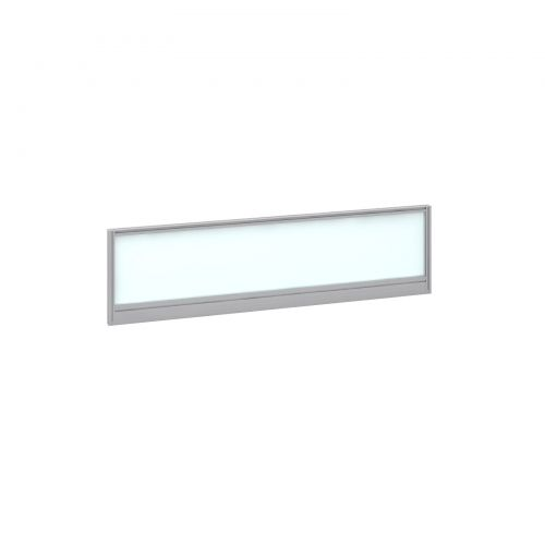 Straight glazed desktop screen 1400mm x 380mm - polar white with silver aluminium frame