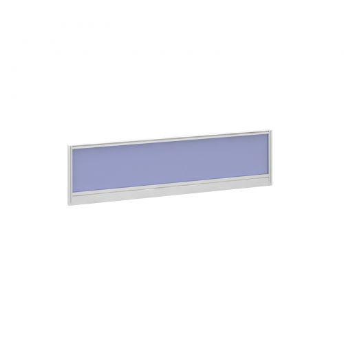 Straight glazed desktop screen 1400mm x 380mm - electric blue with white aluminium frame