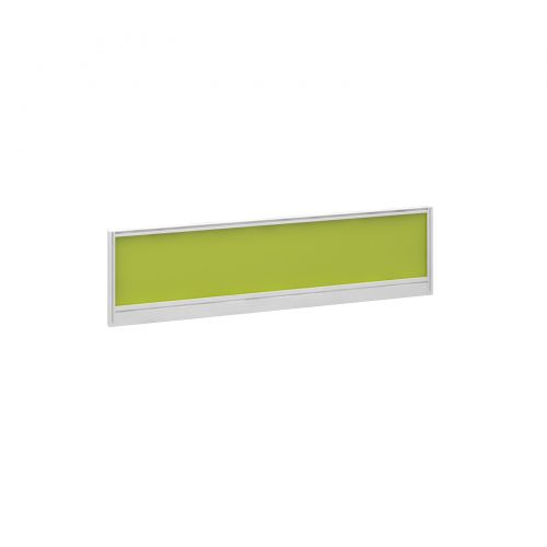 Straight glazed desktop screen 1400mm x 380mm - acid green with white aluminium frame