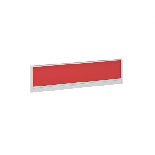 Straight glazed desktop screen 1400mm x 380mm - chili red with white aluminium frame
