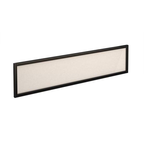Straight glazed desktop screen 1600mm x 380mm - polar white with black aluminium frame