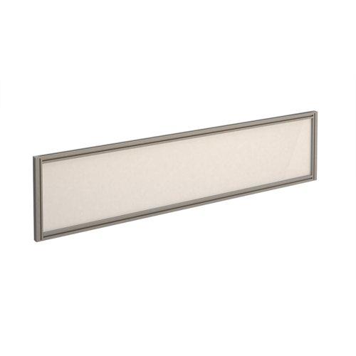 Straight glazed desktop screen 1600mm x 380mm - polar white with silver aluminium frame