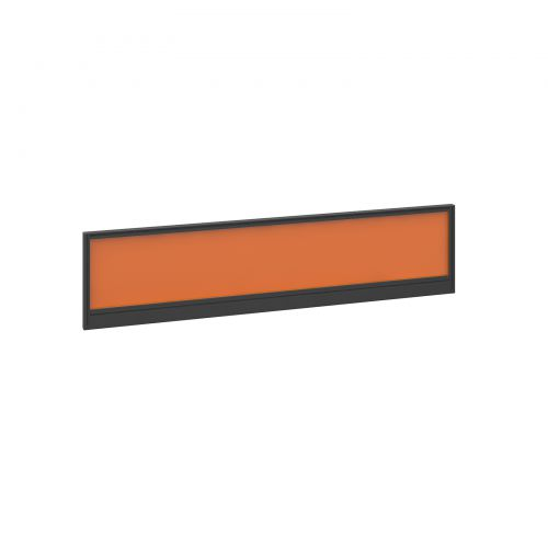 Straight glazed desktop screen 1600mm x 380mm - mandarin orange with black aluminium frame