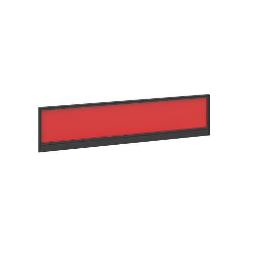 Straight glazed desktop screen 1600mm x 380mm - chili red with black aluminium frame