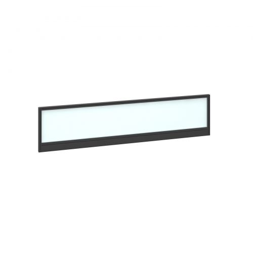 Straight glazed desktop screen 1600mm x 380mm - polar white with black aluminium frame