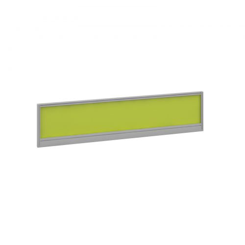Straight glazed desktop screen 1600mm x 380mm - acid green with silver aluminium frame
