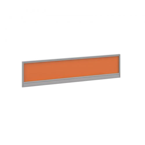 Straight glazed desktop screen 1600mm x 380mm - mandarin orange with silver aluminium frame