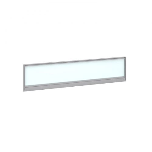 Straight glazed desktop screen 1600mm x 380mm - polar white with silver aluminium frame