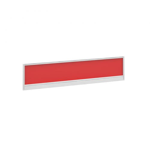 Straight glazed desktop screen 1600mm x 380mm - chili red with white aluminium frame