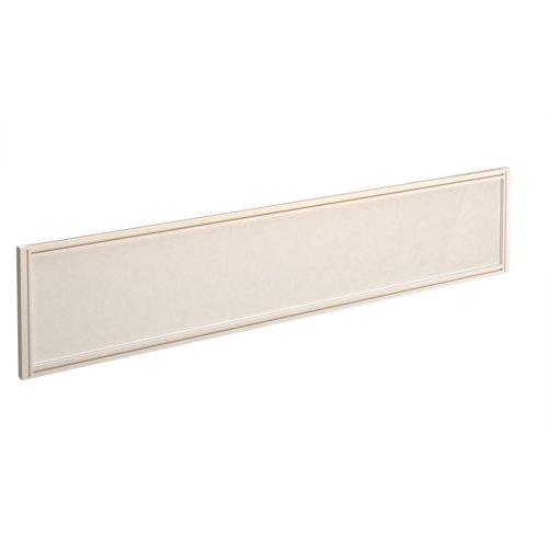 Straight glazed desktop screen 1800mm x 380mm - polar white with white aluminium frame