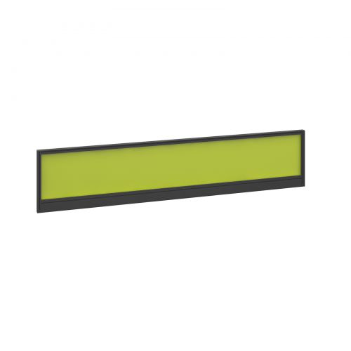 Straight glazed desktop screen 1800mm x 380mm - acid green with black aluminium frame