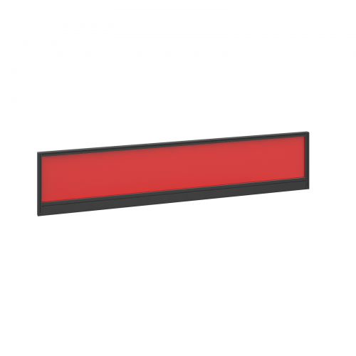 Straight glazed desktop screen 1800mm x 380mm - chili red with black aluminium frame