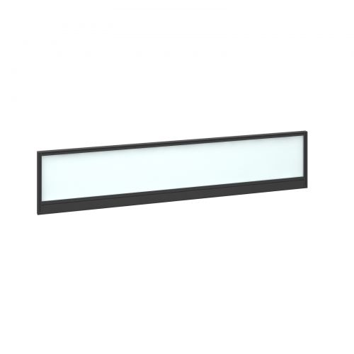 Straight glazed desktop screen 1800mm x 380mm - polar white with black aluminium frame
