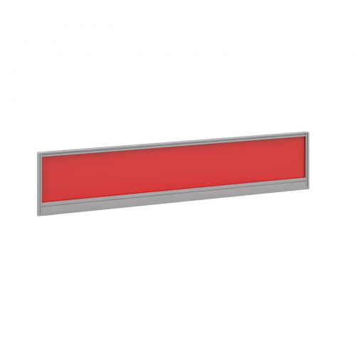 Straight glazed desktop screen 1800mm x 380mm - chili red with silver aluminium frame