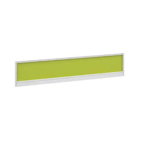 Straight glazed desktop screen 1800mm x 380mm - acid green with white aluminium frame