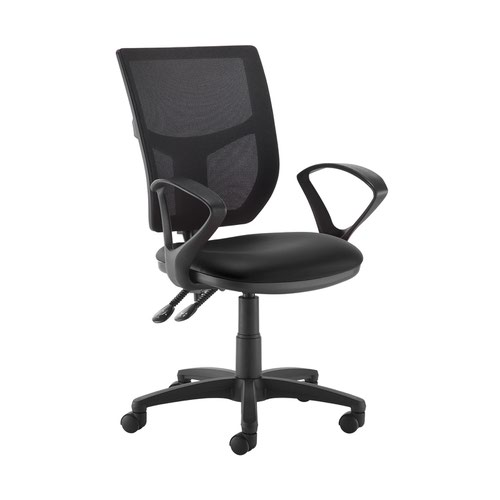 Altino 2 lever high mesh back operators chair with fixed arms - Nero Black vinyl