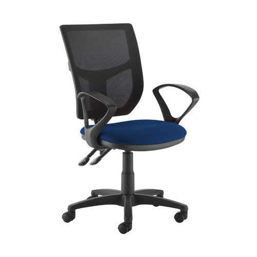 Altino 2 lever high mesh back operators chair with fixed arms - Curacao Blue