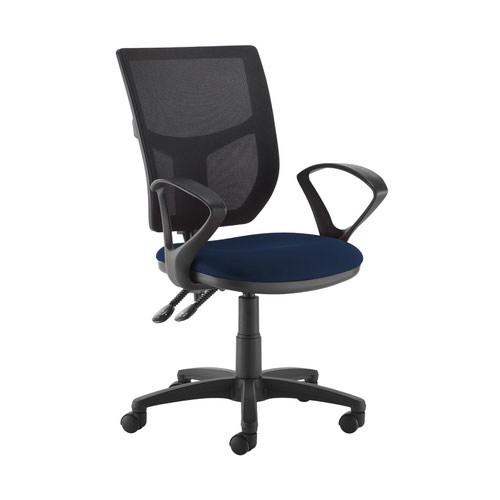 Altino 2 lever high mesh back operators chair with fixed arms - Costa Blue