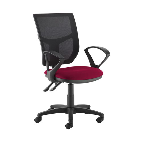 Altino 2 lever high mesh back operators chair with fixed arms - Diablo Pink