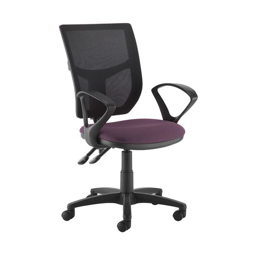 Altino 2 lever high mesh back operators chair with fixed arms - Bridgetown Purple