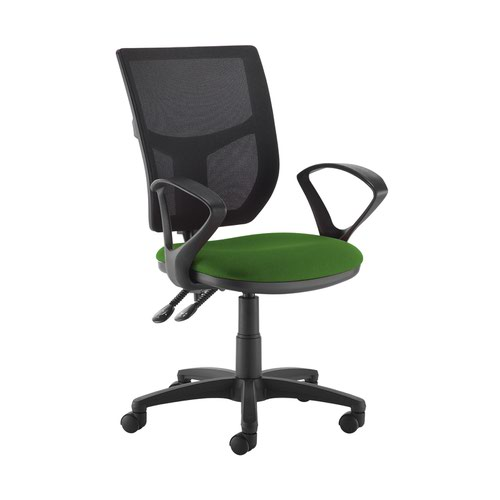 Altino 2 lever high mesh back operators chair with fixed arms - Lombok Green