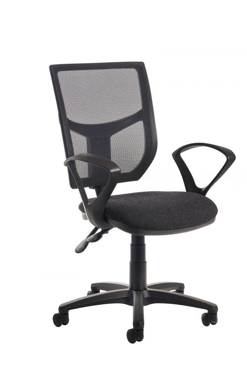 Altino 2 lever high mesh back operators chair with fixed arms - charcoal