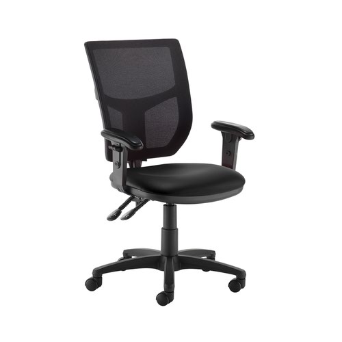 Altino 2 lever high mesh back operators chair with adjustable arms - Nero Black vinyl