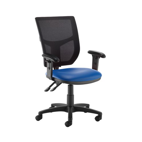 Altino 2 lever high mesh back operators chair with adjustable arms - Ocean Blue vinyl
