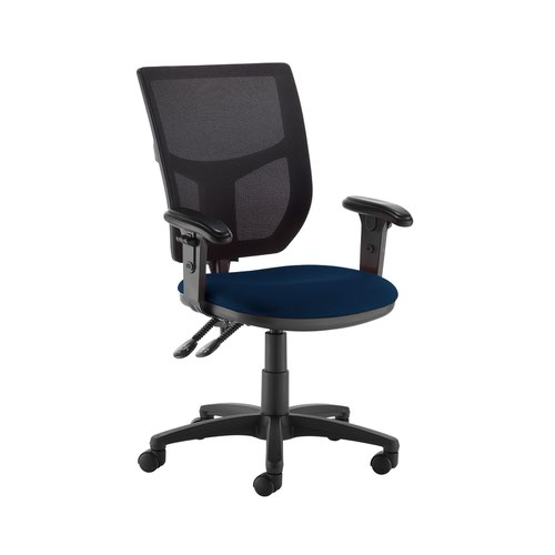 Altino 2 lever high mesh back operators chair with adjustable arms - Costa Blue